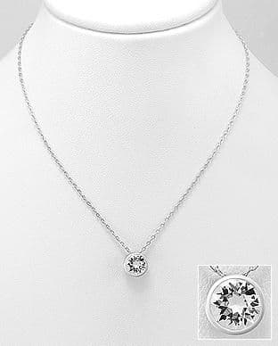 925 Sterling Silver Pendant & Chain Decorated with  Verifiable Authentic Swarovski Crystal Stone